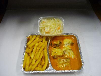 Suflaki, überbacken (2 Spieße), mit Pommes und Krautsalat